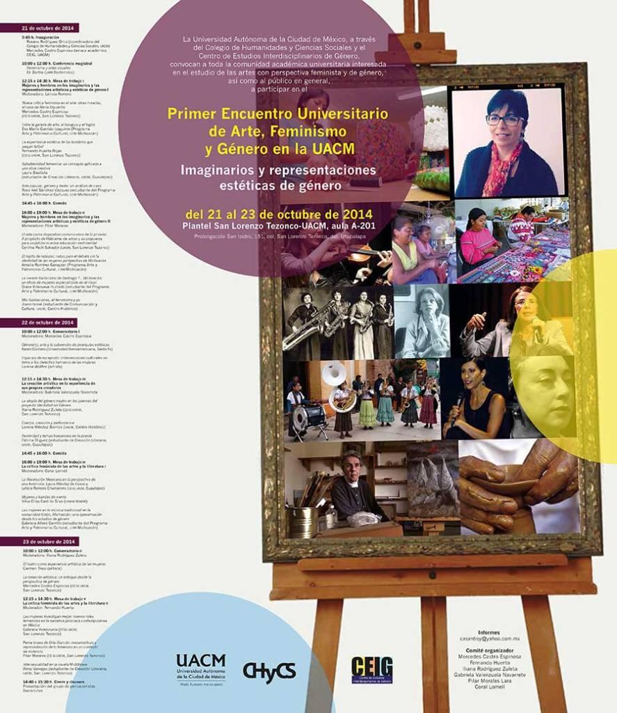 Cartel del Encuentro Arte, Feminismo y Género, organizado por el CEIG